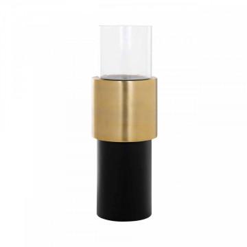 Lampa decorativa din aluminiu/sticla Osmin neagra/aurie mica, un bec