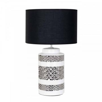 Lampa decorativa din ceramics/bumbac Aurora neagra, un bec