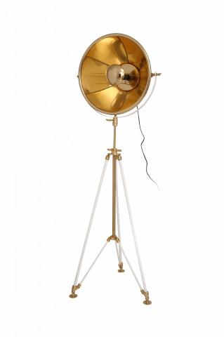 Lampadar din otel/aluminiu/bumbac Bowie bej/auriu/alb