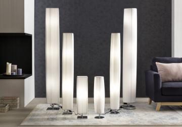Lampadar rotund din latex/metal cromat 160 cm alb, 3 becuri