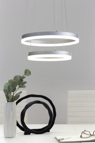 Lustra din metal/acrilic alba, 2 lumini LED