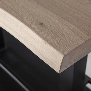 Masa de bar dreptunghiulara din lemn de stejar 140x80x94 cm maro