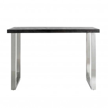 Masa de bar dreptunghiulara din lemn de stejar Blackbone 105x160x80 cm gri/argintiu
