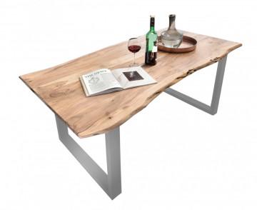 Masa dreptunghiulara cu blat din lemn de salcam Tables & Benches 140x80x78 cm maro deschis/ argintiu