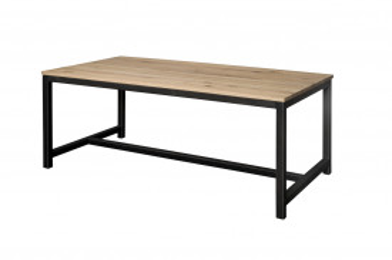 Masa dreptunghiulara cu blat din lemn de stejar 200x100x78 cm maro/negru