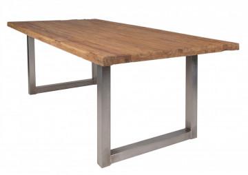 Masa dreptunghiulara cu blat din lemn de tec reciclat Tables & Benches 220 x 100 x 76 cm maro/argintiu