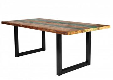 Masa dreptunghiulara cu blat din lemn de tec reciclat Tables & Benches 220 x 100 x 76,5 cm multicolor/neagra