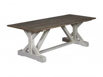Masa dreptunghiulara din lemn de pin 200x100x78 cm maro inchis/alb