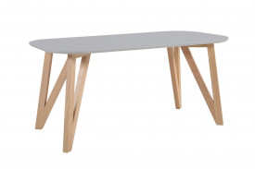Masa ovala din lemn 160x90x76 cm gri/maro