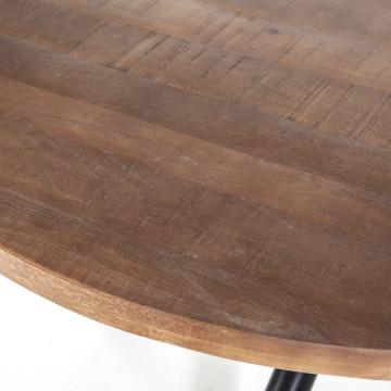 Masa rotunda cu blat din lemn de mango 130x130x76 cm maro/negru
