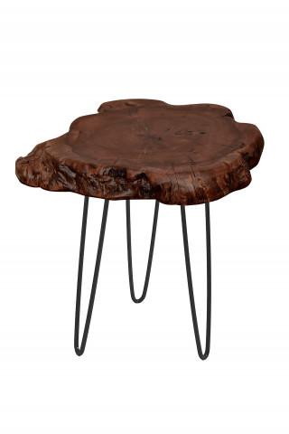 Masuta de cafea cu forma neregulata din lemn Woody 30x30x40 cm maro inchis