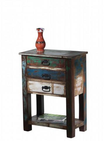 Masuta de cafea dreptunghiulara din lemn cu spatiu de depozitare Riverboat 60x32x79 cm multicolora