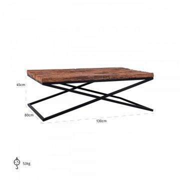 Masuta de cafea dreptunghiulara din lemn Kensington 130x80x45 cm maro inchis
