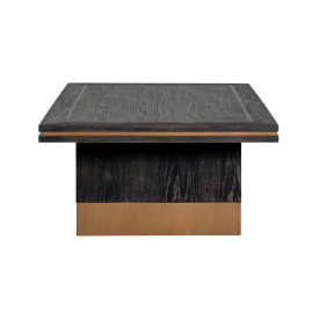 Masuta de cafea dreptunghiulara din stejar si metal Hunter 140x70x36 cm neagra