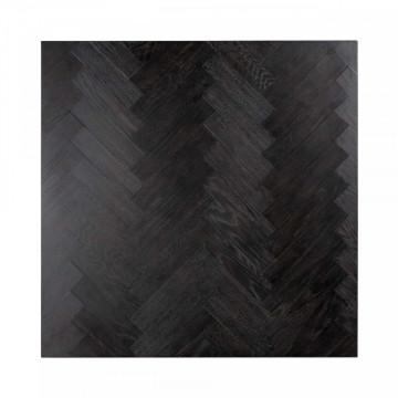 Masuta de cafea patrata din stejar si otel Blackbone 41x90x90 cm negru/argintiu