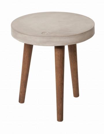 Masuta de cafea rotunda cu blat din beton si cadru din lemn 40x42 cm