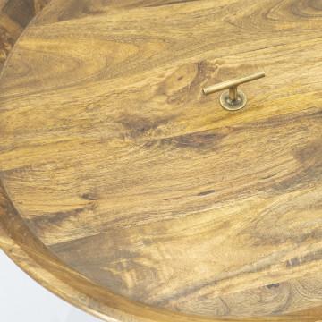 Masuta de cafea rotunda din lemn de mango Medja 70x70x40 cm aurie