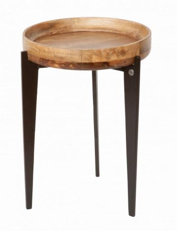 Masuta de cafea rotunda din lemn de mango Tom Tailor 40x40x56 cm maro