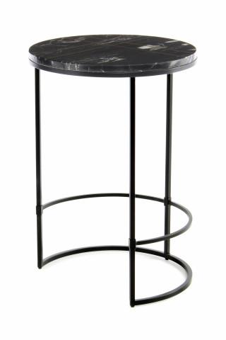 Masuta de cafea rotunda din marmura Louis 44.5x44.5x64 cm neagra