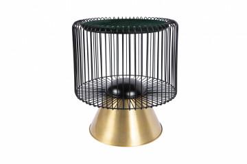 Masuta de cafea rotunda din marmura si fier Malibu 51x51x56,5 cm verde/negru