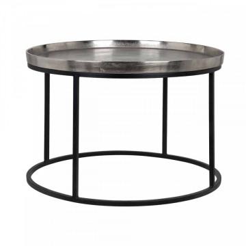 Masuta de cafea rotunda din metal Lyam 45x70x70 cm argintie