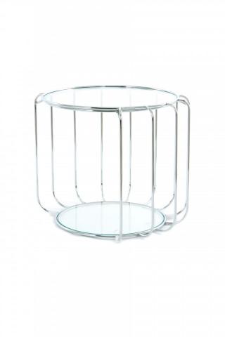 Masuta de cafea rotunda din sticla cu spatiu de depozitare Shirley 50x50x40 cm transparenta/argintiu
