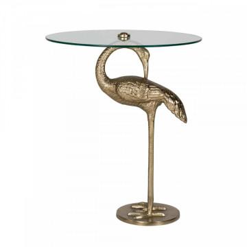 Masuta de cafea rotunda din sticla Flamingo 72x48x48 cm transparenta/auriu