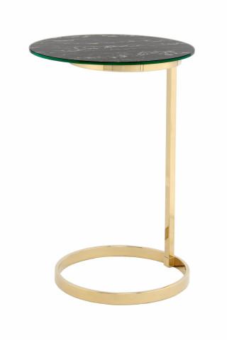 Masuta de cafea rotunda din sticla Kasimir 40x40x60 cm negru/auriu