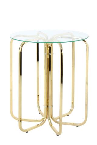 Masuta de cafea rotunda din sticla Sherryl 45x45x55 cm transparenta/auriu