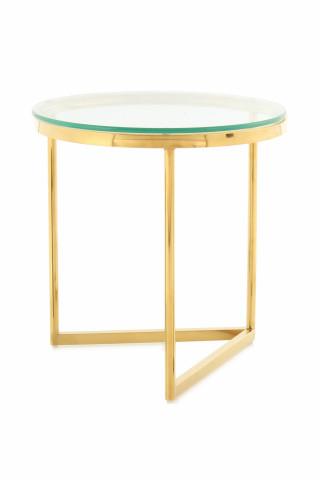 Masuta de cafea rotunda din sticla Wynona 50x50x55 cm transparenta/auriu