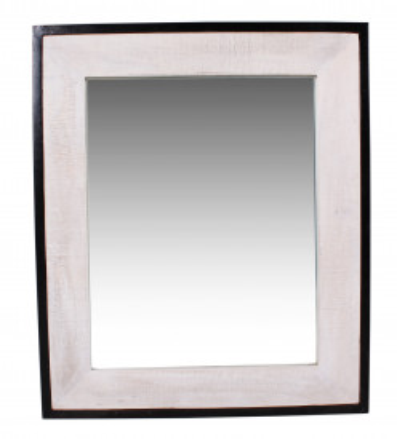 Oglinda dreptunghiulara cu rama din lemn/fier alba WHITE PANAMA, 70 x 3 x 80 cm
