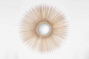 Oglinda rotunda cu rama din fier aurie Cass, 90 x 90 x 2 cm