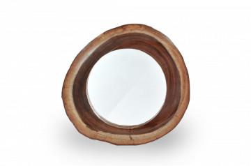 Oglinda rotunda cu rama din lemn maro ROMANTEAKA, 60 x 8 x 60 cm