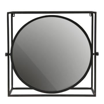 Oglinda rotunda cu rama din metal neagra, 52 x 13 x 50 cm