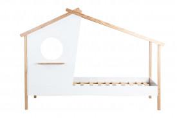 Pat pentru copii sub forma de casa din MDF/pin alb, 104x220x159 cm