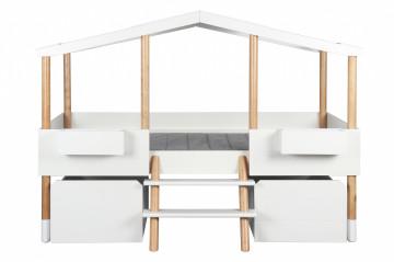 Pat pentru copii sub forma de casa din pin si MDF alb 207x129x152 cm