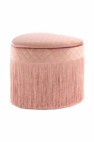 Puf/ Taburet in forma de inima tapitat cu spatiu pentru depozitare si franjuri Paola roz