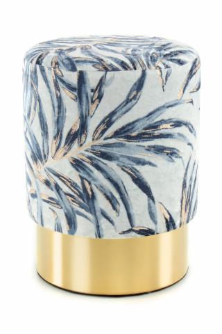 Puf/ Taburet tapitat cu imprimeu floral Gipsy albastru / auriu