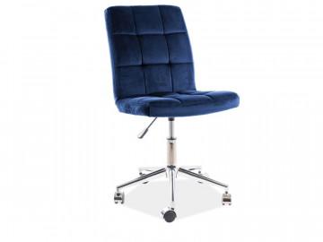 Scaun de birou din catifea Q20 albastru