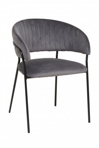Scaun din catifea cu spatar matlasat gri