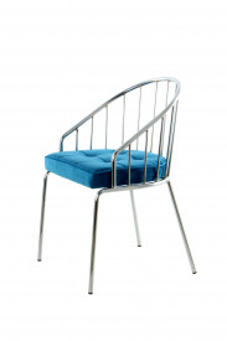 Scaun din metal si catifea Palma albastru / argintiu