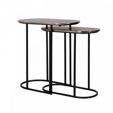 Set 2 masute de cafea ovale din metal Chandon 56x50x57 cm negru/maro
