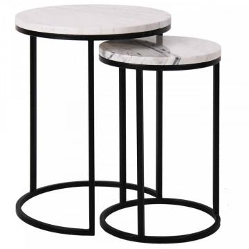 Set 2 masute de cafea rotunde din marmura si metal Lexington 57x45x45 cm albe