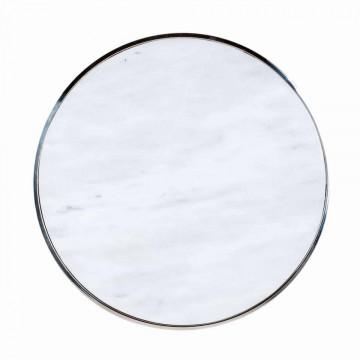 Set 2 masute de cafea rotunde din marmura si otel Levanto 60x60x60 cm albe