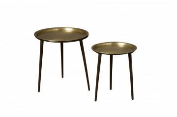 Set 2 masute de cafea rotunde din metal 47x47x51 cm aurii