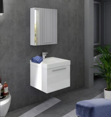 Set 2 piese mobilier pentru baie, alb, 50 cm