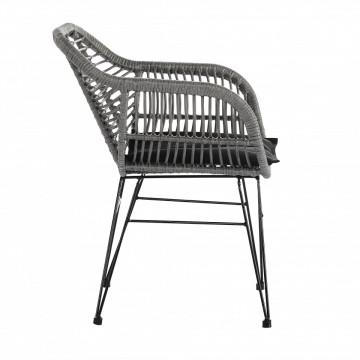 Set 2 scaune cu aspect de ratan gri