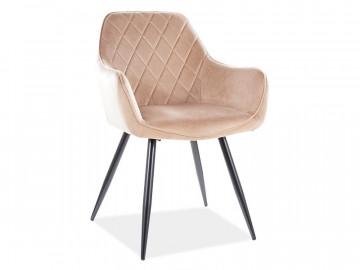 Set 2 scaune din catifea Linea bej