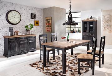 Set 2 scaune din lemn Corsica negru/maro