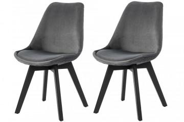 Set 2 scaune tapitate cu aspect catifelat Cleo gri